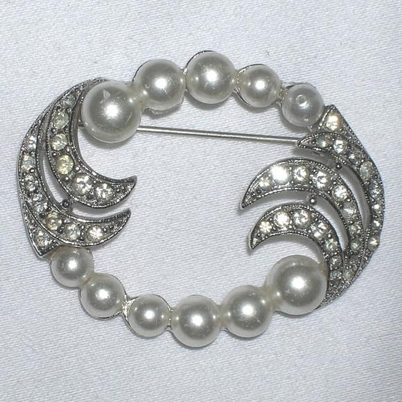 11f7978cc Vintage Jewelry | 40s Rhinestone Pearl Bridal Brooch Pin | Poshmark
